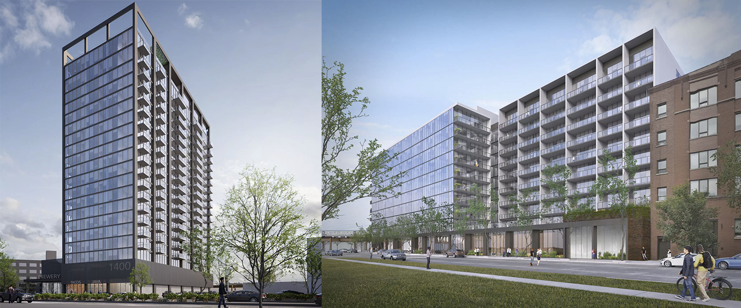 1400/1440 W Randolph Street Development. Renderings Courtesy of Brininstool + Lynch