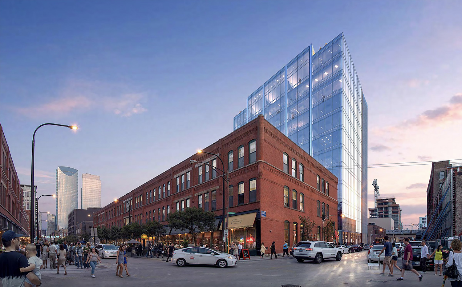 215 N Peoria from Fulton Street. Rendering courtesy of Lamar Johnson Collaborative