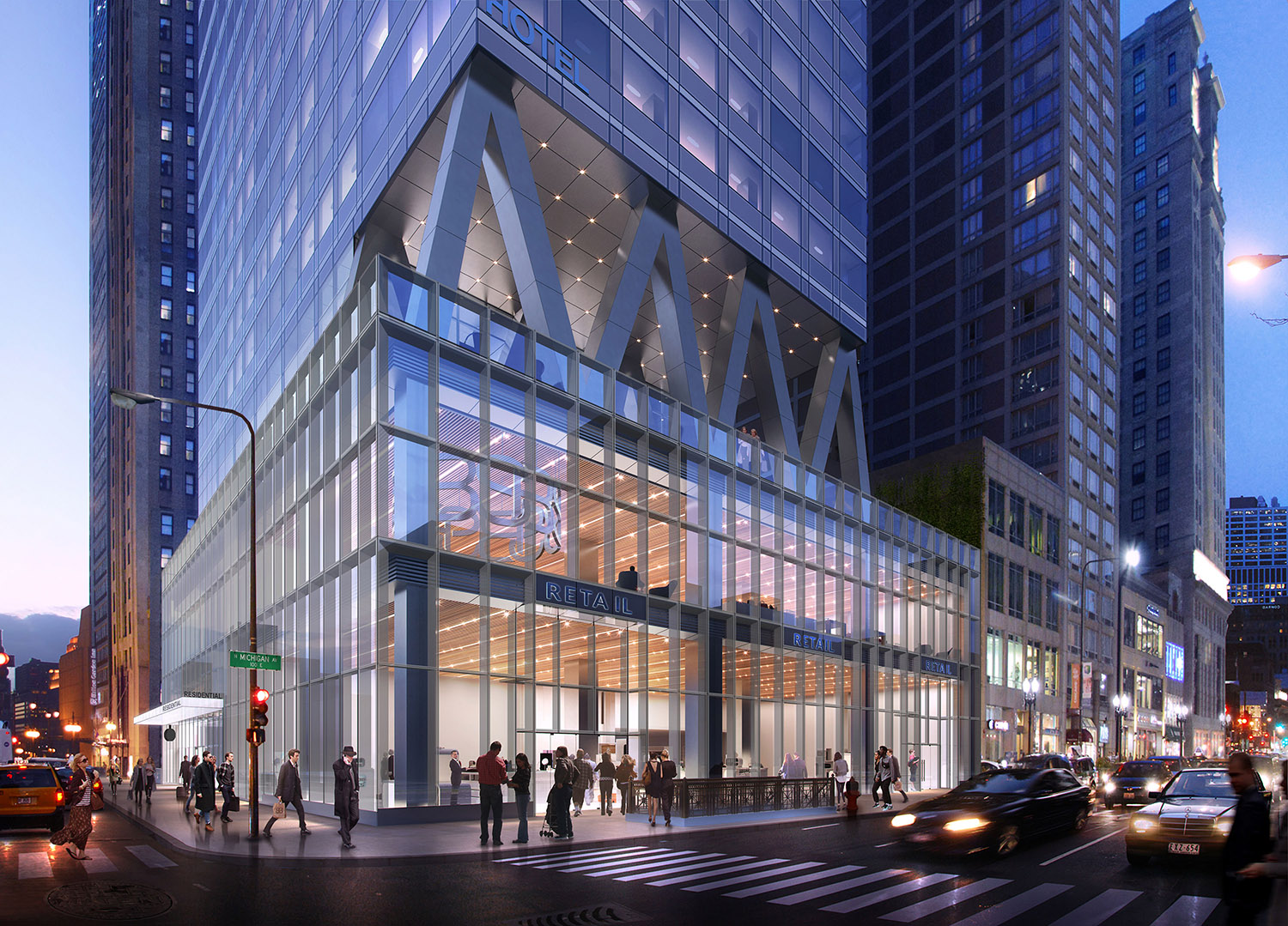 300 N Michigan Avenue Retail Podium. Rendering by bKL Architecture LLC