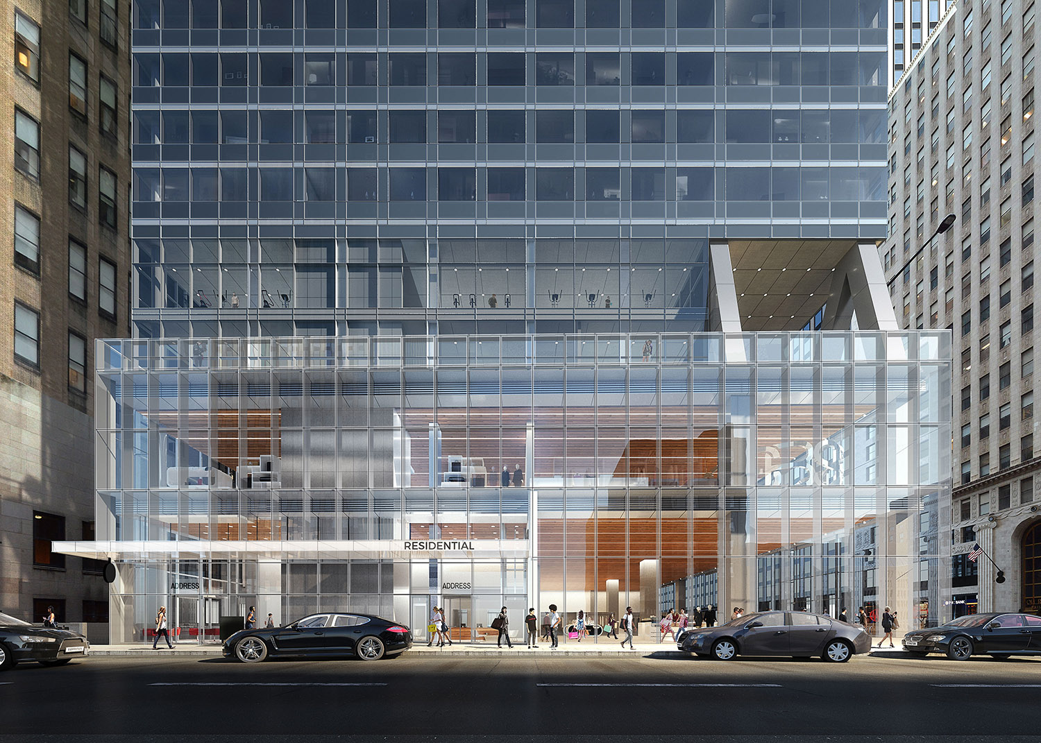 300 N Michigan Avenue Streetscape. Rendering by bKL Architecture LLC