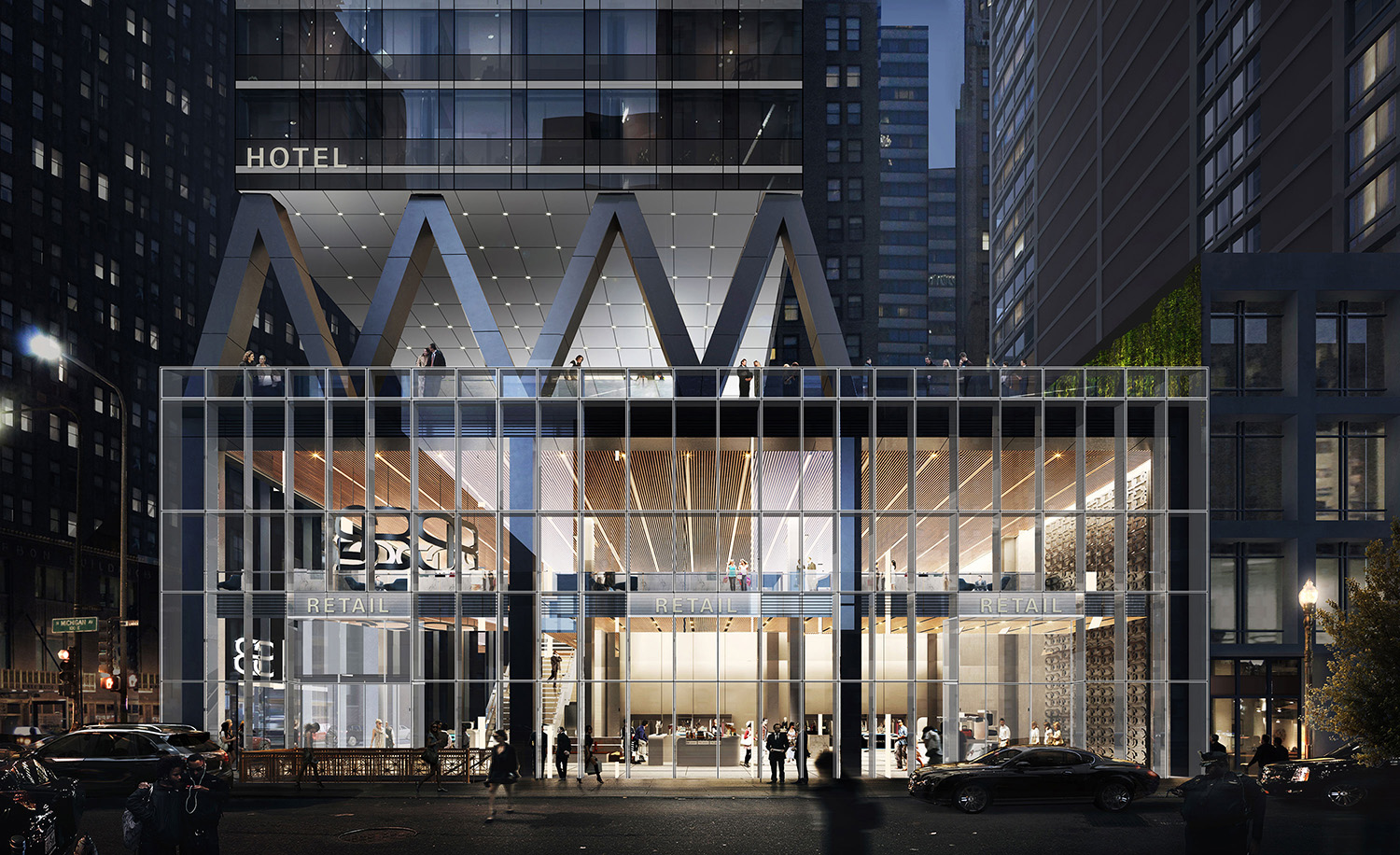 300 N Michigan Retail Podium at Night. Rendering by bKL Architecture LLC