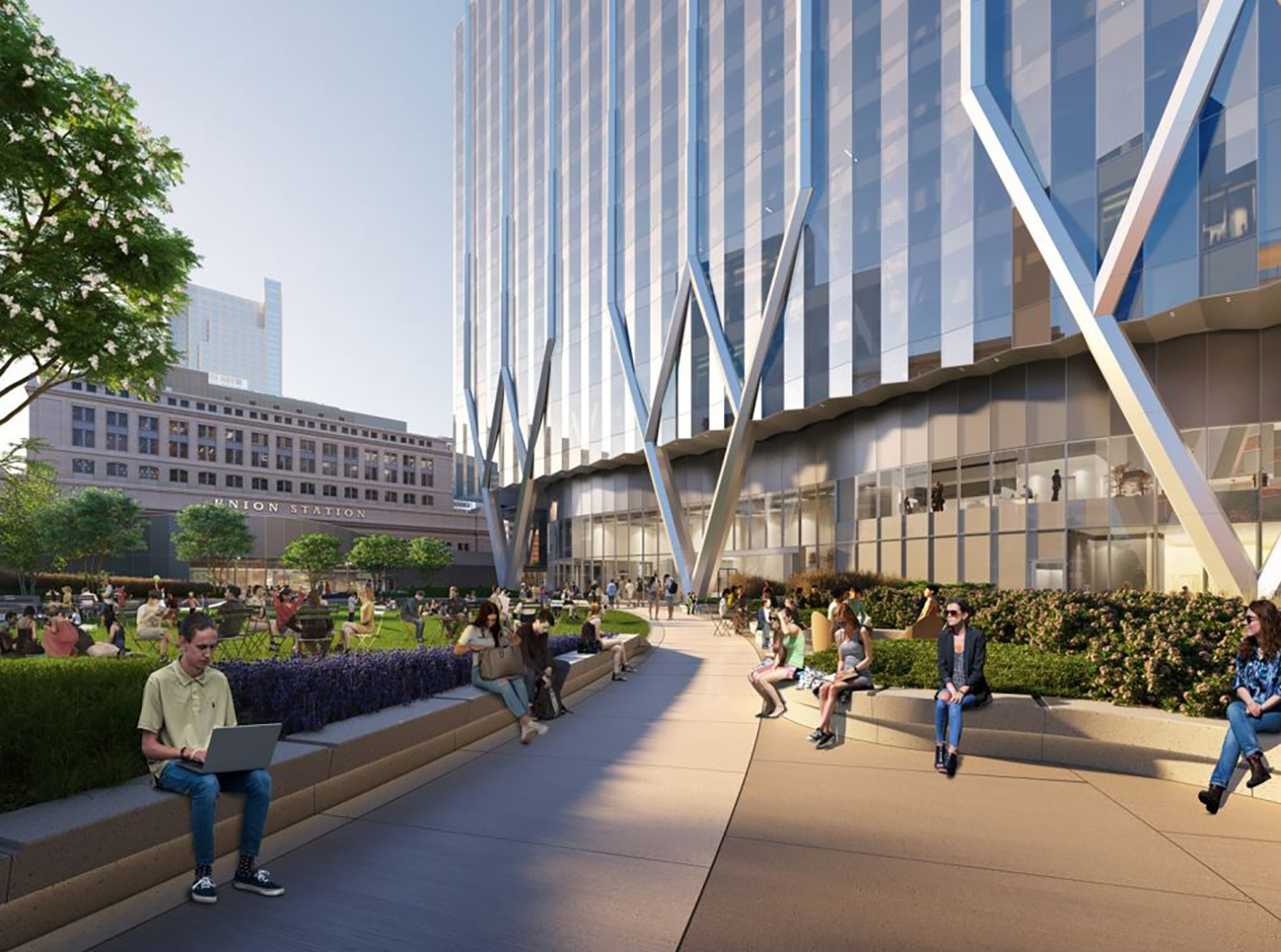 Rendering of Outdoor Park at 320 S Canal Street. Rendering Courtesy of Goettsch Partners