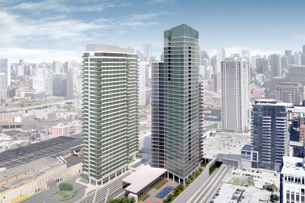 Aerial rendering of 354 N Union Avenue apartment tower