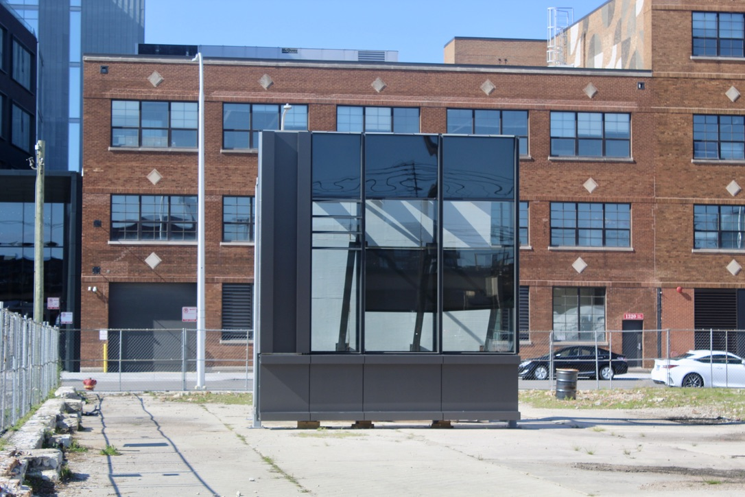 Sample curtain wall piece from behind the 1325 W Fulton Market lot