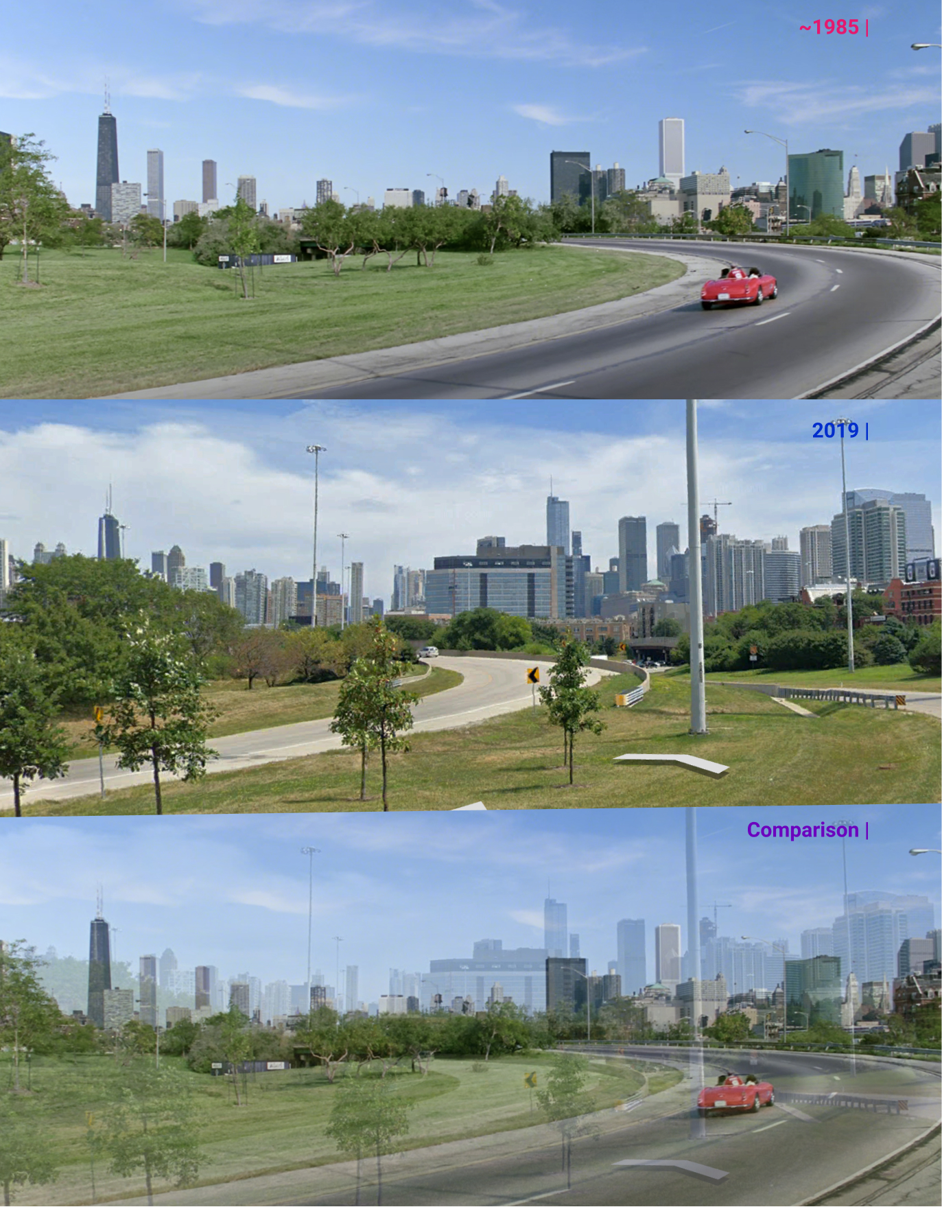 Another shot from an interchange along the Kennedy Expressway in West Town, compared to a more recent 2019 photo