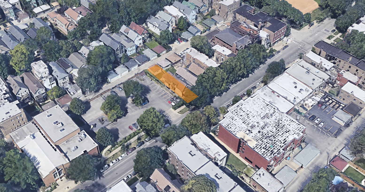 Aerial view of 4930 N Damen Avenue (in orange), facing northwest