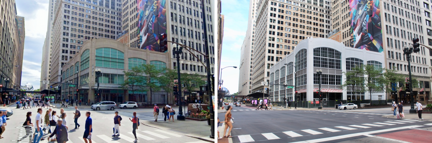 35 N State Street, August 2019 (left) and August 2020 (right)