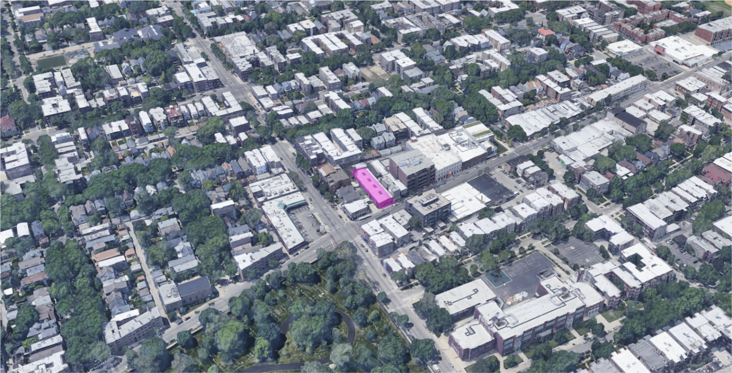 The 4410 N Clark Street Site (pink), facing west
