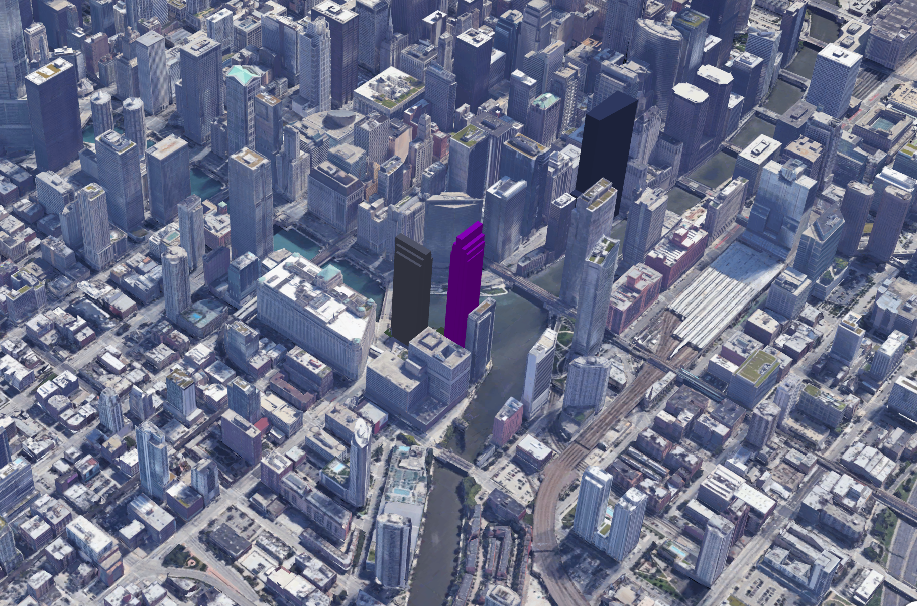 The loop and an approximate massing of Wolf Point South (purple), facing southeast