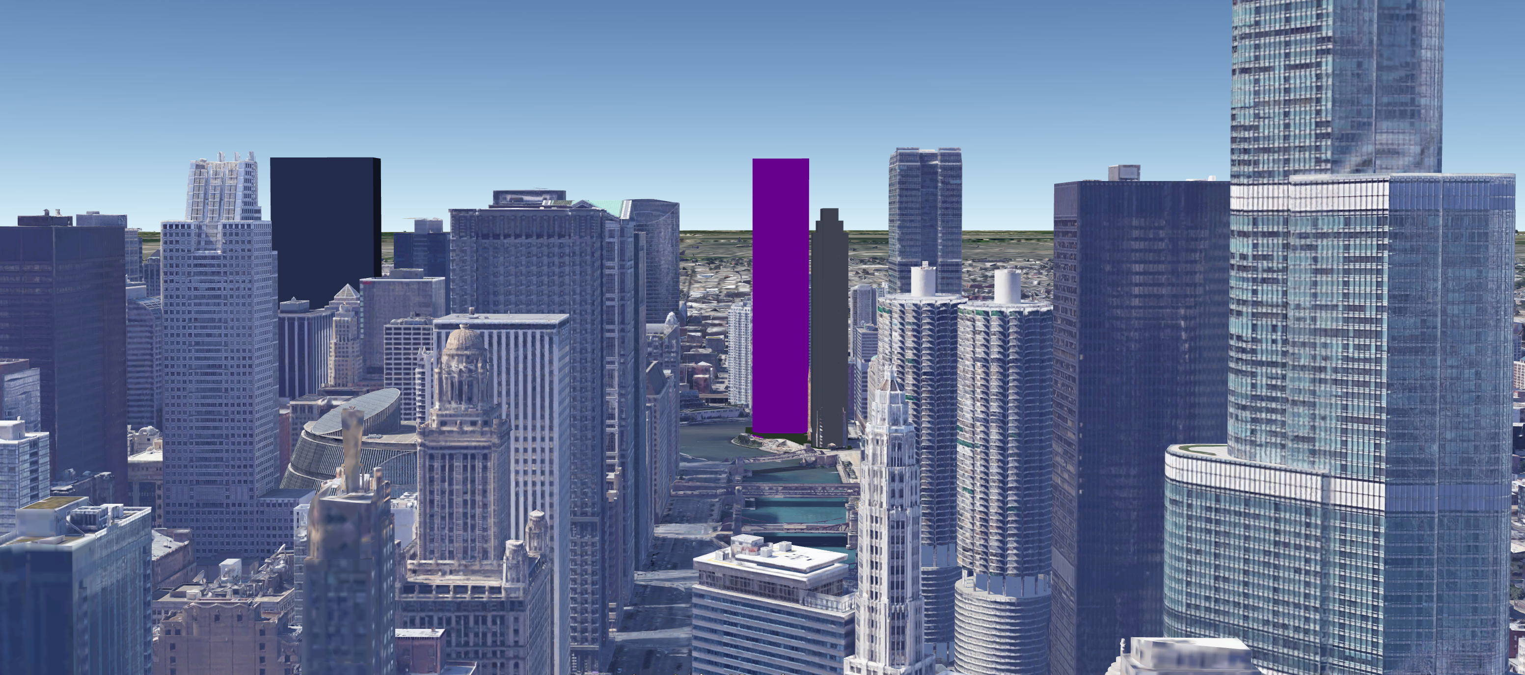 Approximate massing of Wolf Point South (purple), facing west