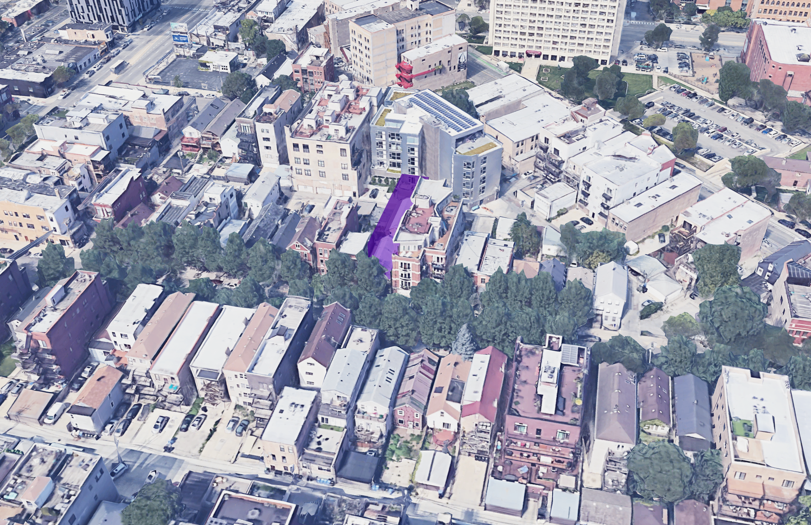 1518 W Thomas street, highlighted in purple