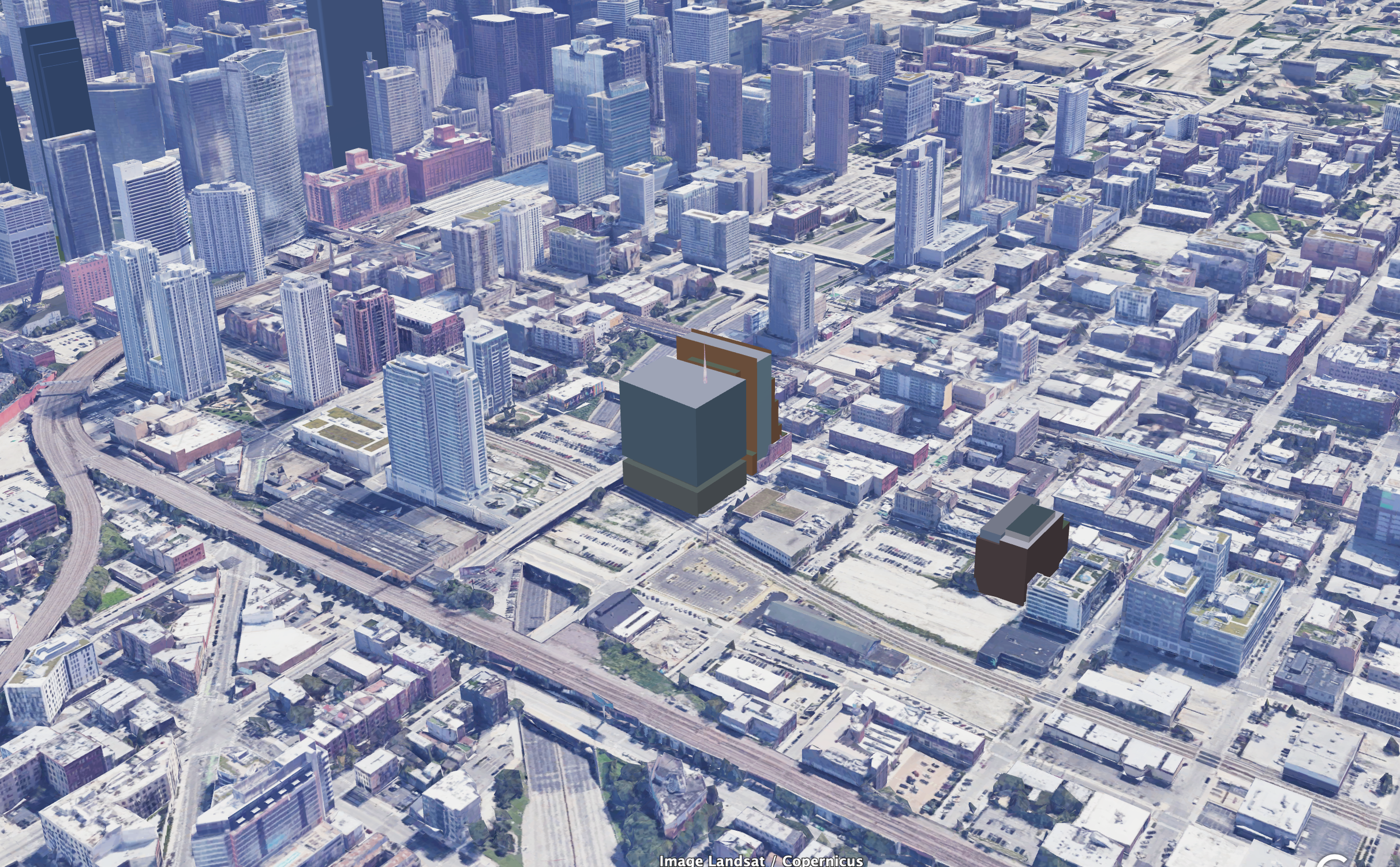 Massing models of 333 N Green Street (center left), 800 W Fulton Market (behind 333 N Green), and 320 N Sangamon Street (right)