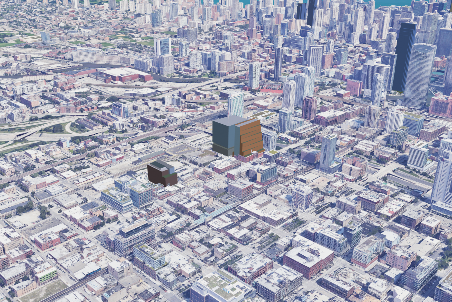 Massing models of 320 N Sangamon (left), 800 W Fulton Market (right of center), and 333 N Green Street (just behind 800 W Fulton Market), facing northeast