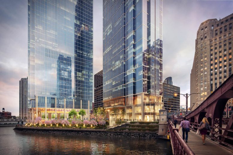 View of Wolf Point South and Wolf Point East with riverwalk park in front. View from Franklin-Orleans Street Bridge. Rendering courtesy of Pelli Clarke Pelli Architects
