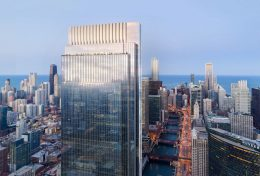 Rendering of Wolf Point South. Rendering courtesy of Pelli Clarke Pelli Architects