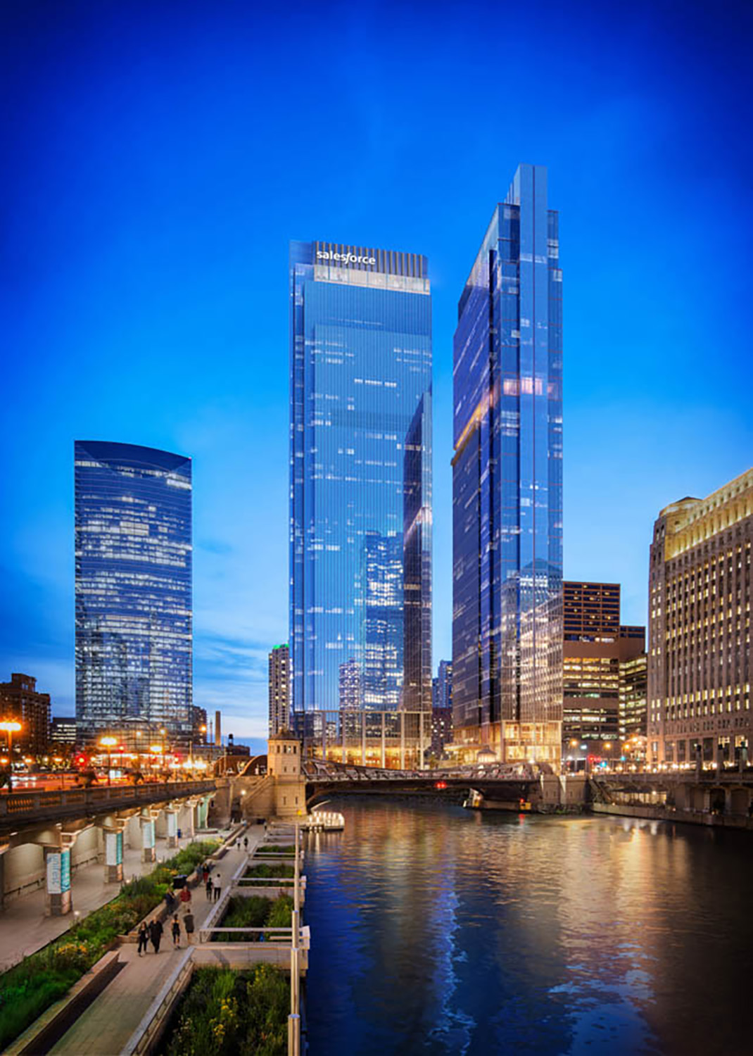 View of Wolf Point South looking West. Rendering courtesy of Pelli Clarke Pelli Architects