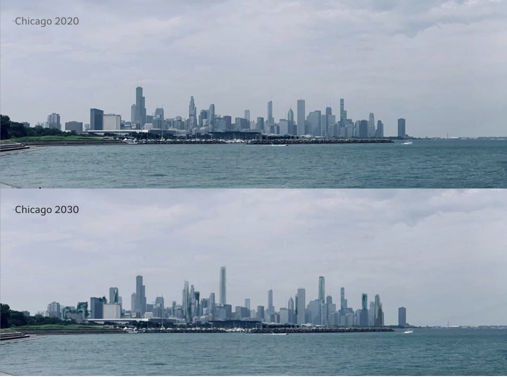 Rendering of Chicago in 2020 and 2030, from Burnham Park