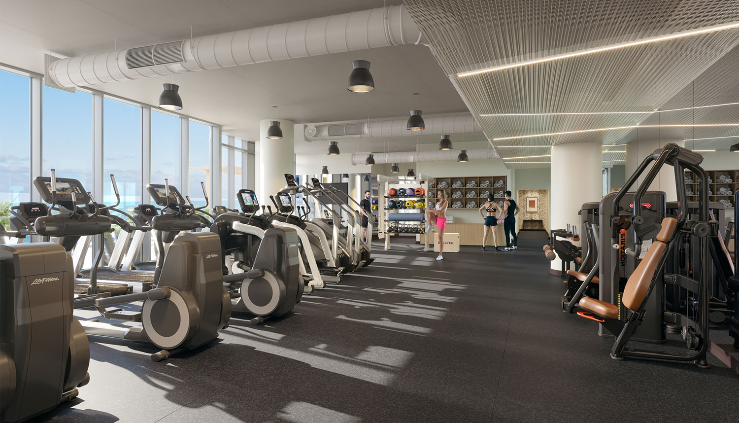 Amenity Fitness Center at Cirrus. Rendering by bKL Architecture LLC