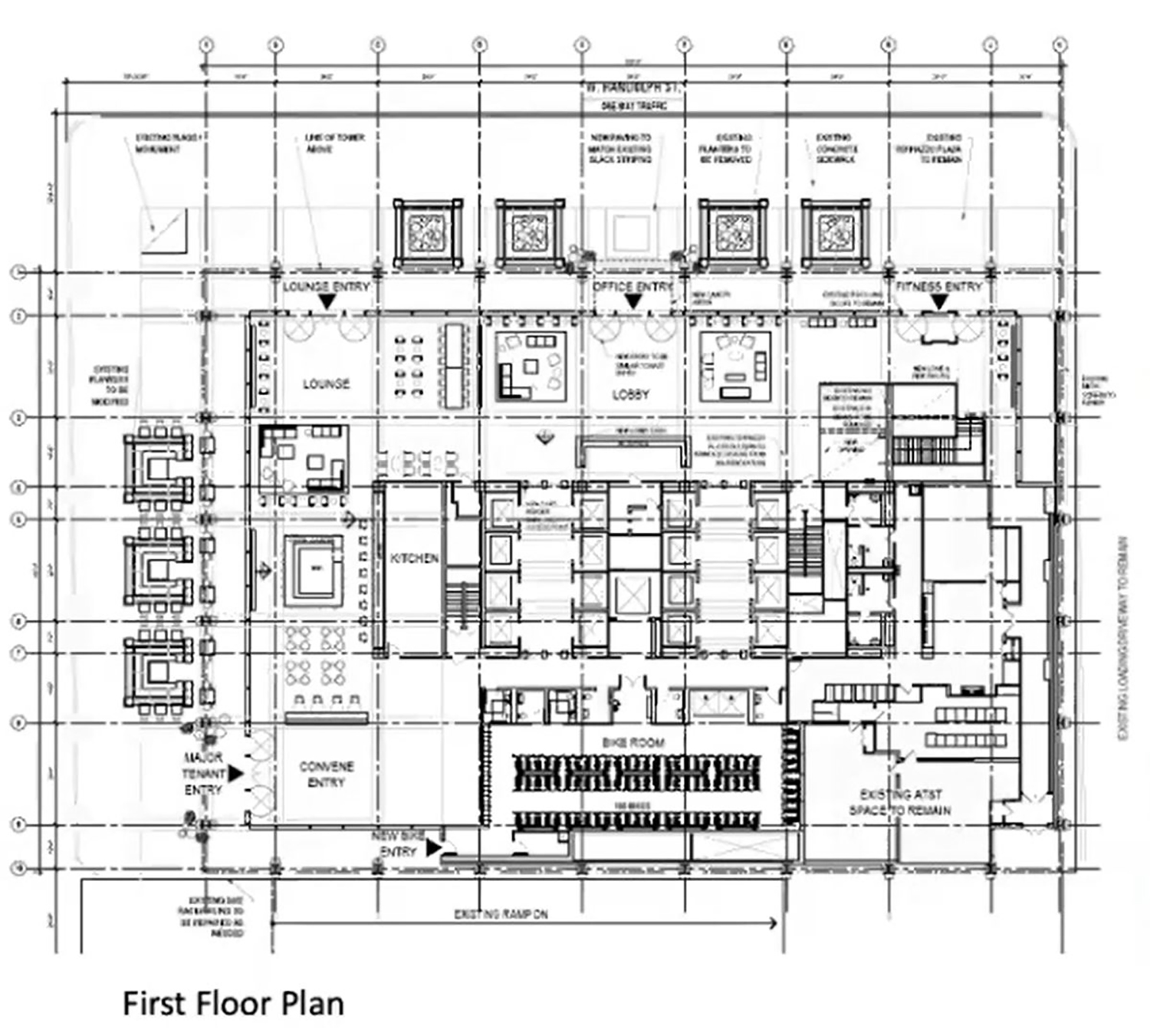 First Floor Plan of Illinois Bell Building. Image by Developer