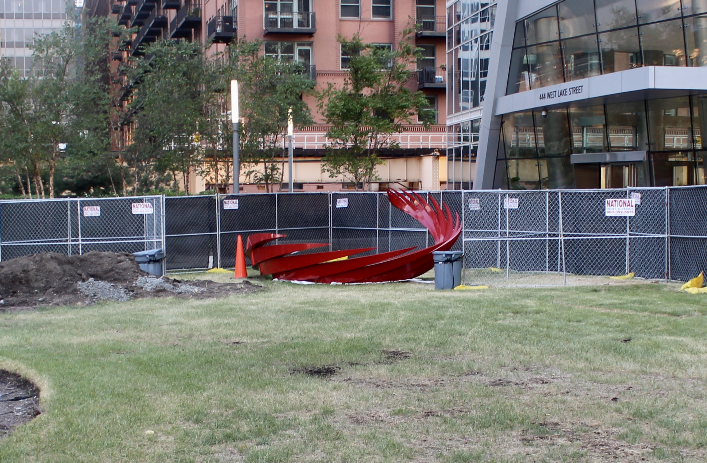 """Additional portion of """"Constellation"""" by Santiago Calatrava in a nearby staging area"""