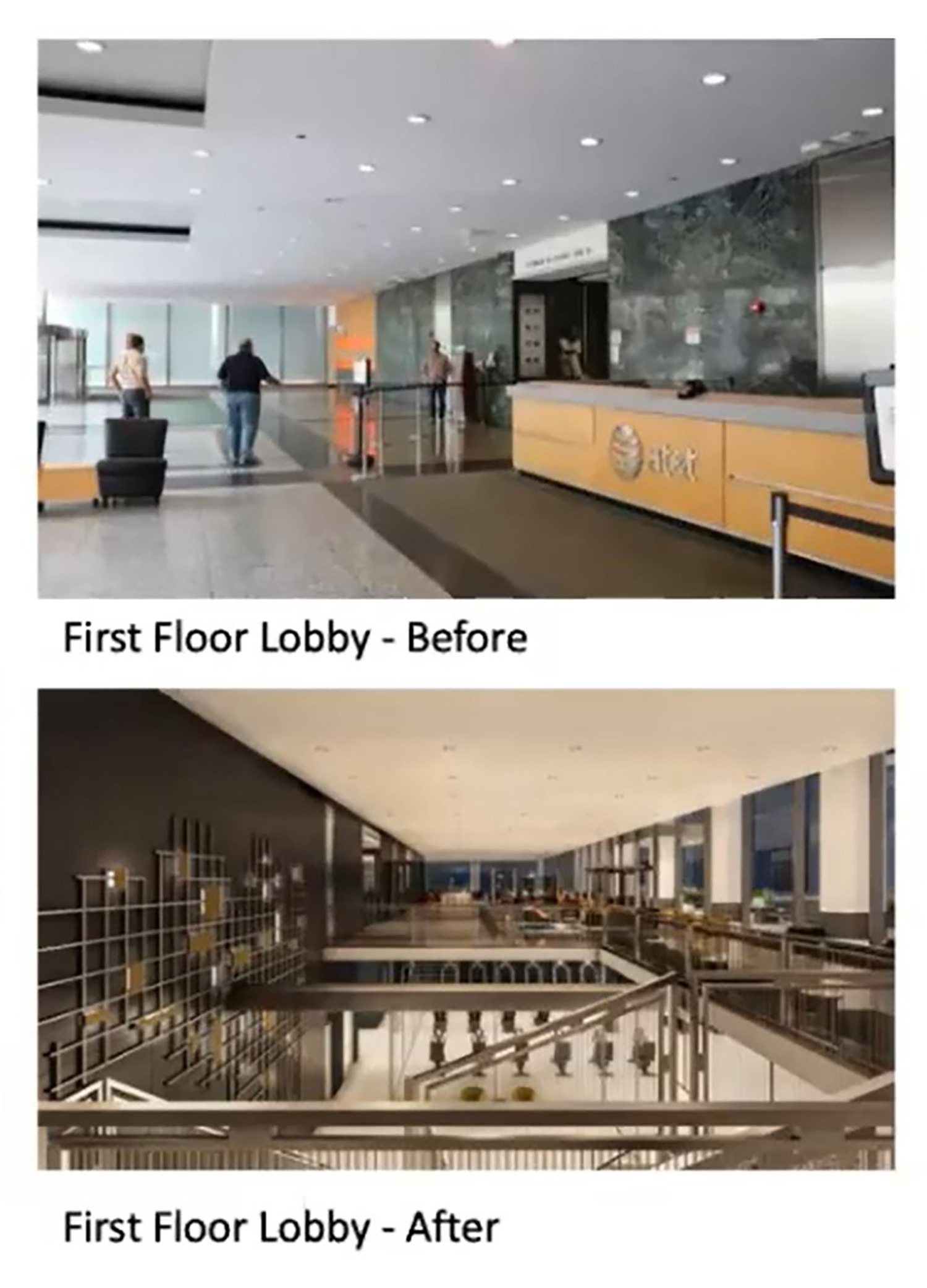 Illinois Bell Building Lobby Comparison. Images by Developer