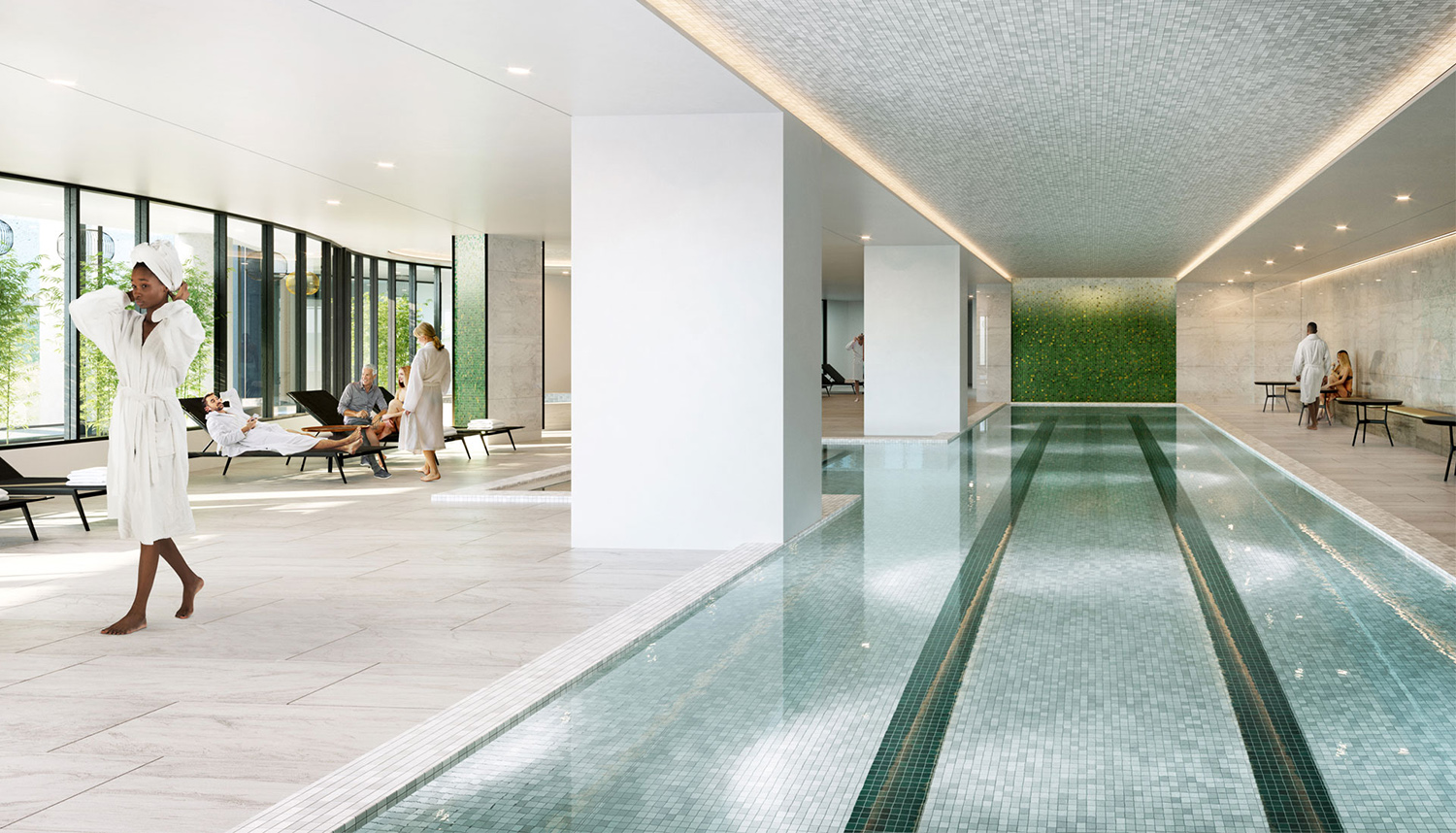 Indoor Amenity Pool at Cirrus. Rendering by bKL Architecture LLC