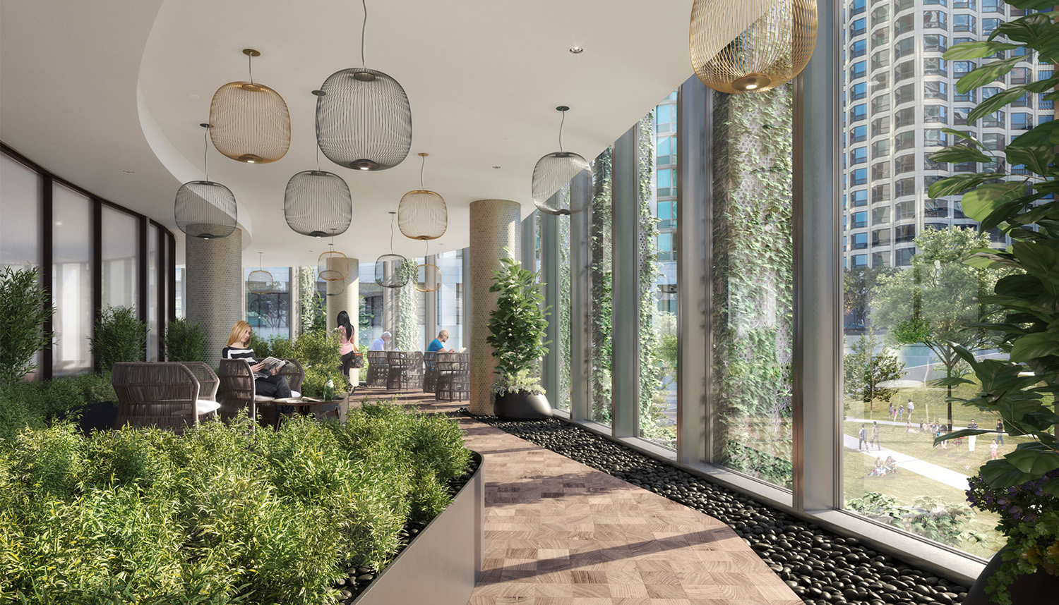 Interior Amenity Space at Cirrus. Rendering by bKL Architecture LLC