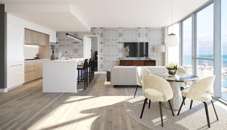 Interior View of Condominium at Cirrus. Rendering by bKL Architecture LLC