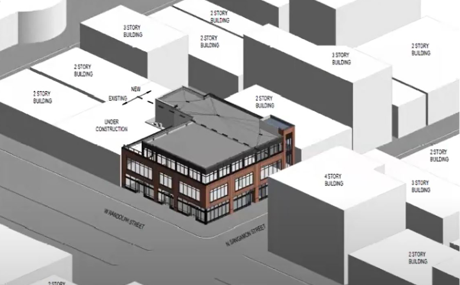 Massing Diagram of 932 W Randolph Street. Rendering by OKW Architects