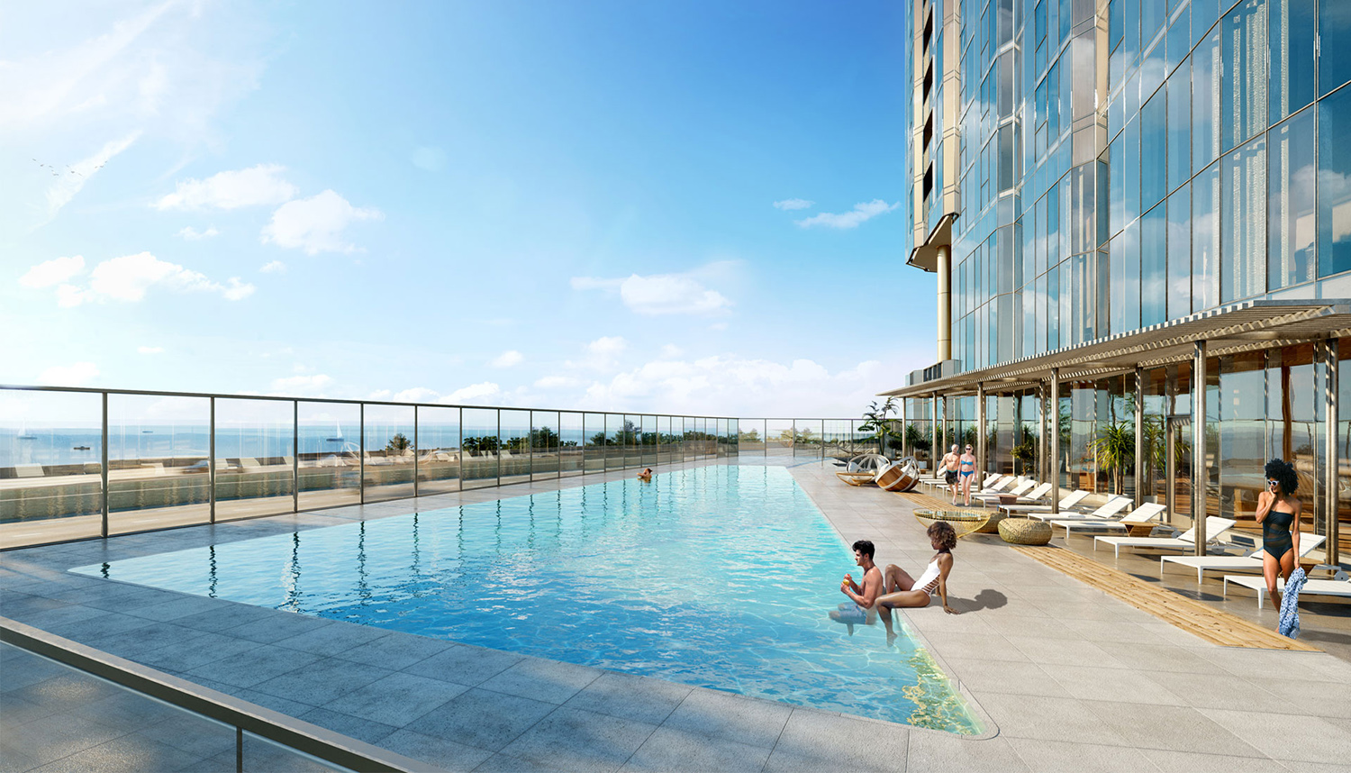 Outdoor Pool at Cirrus. Rendering by bKL Architecture LLC