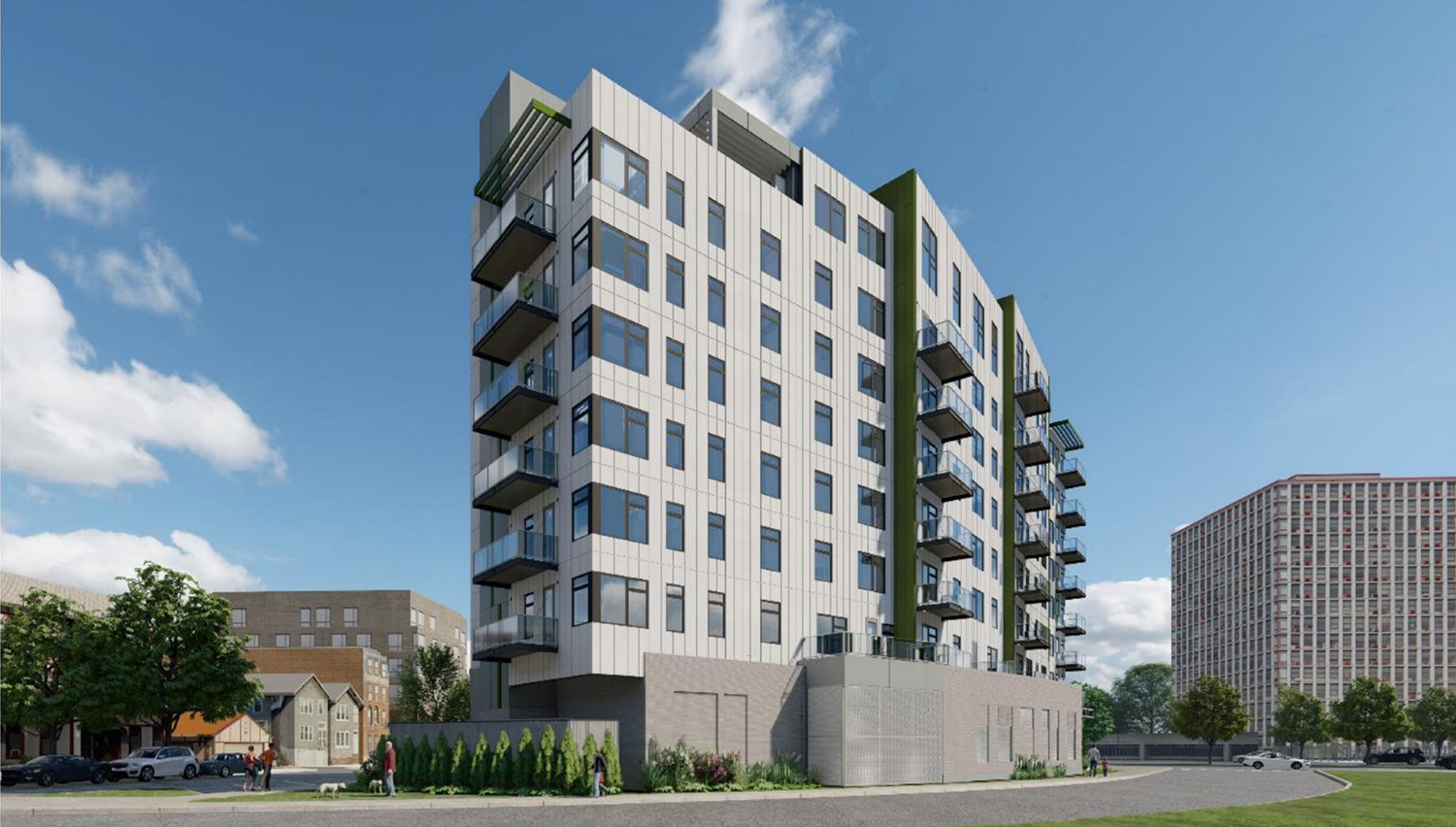 View of 1140 W Erie Street Looking West. Rendering by FitzGerald Associates