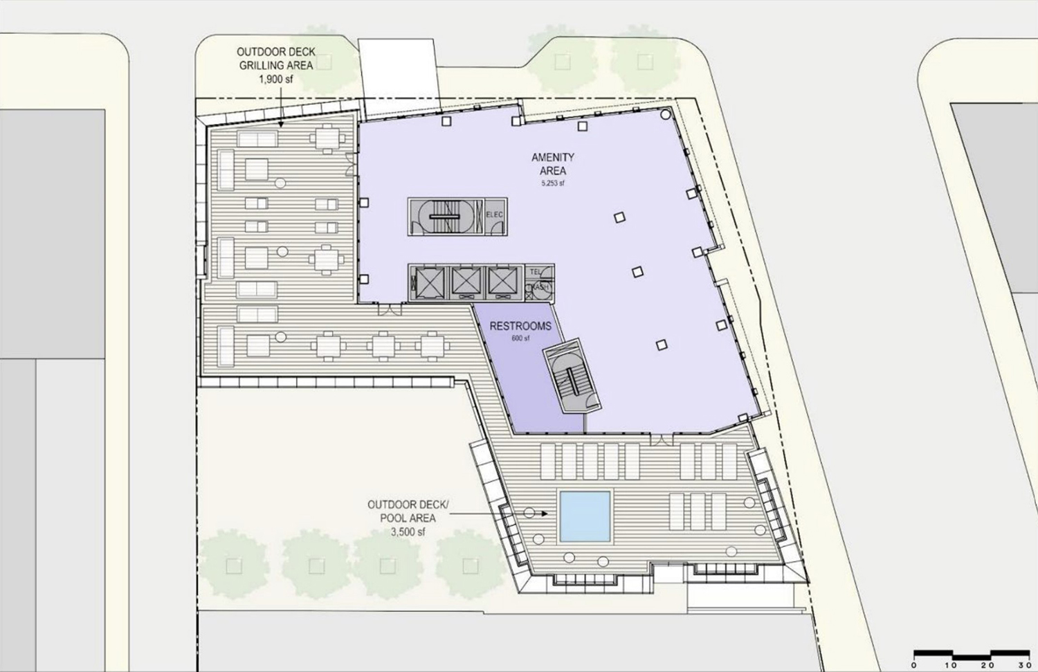 Amenity Floor Plan for 1130 N State Street. Drawing by SCB