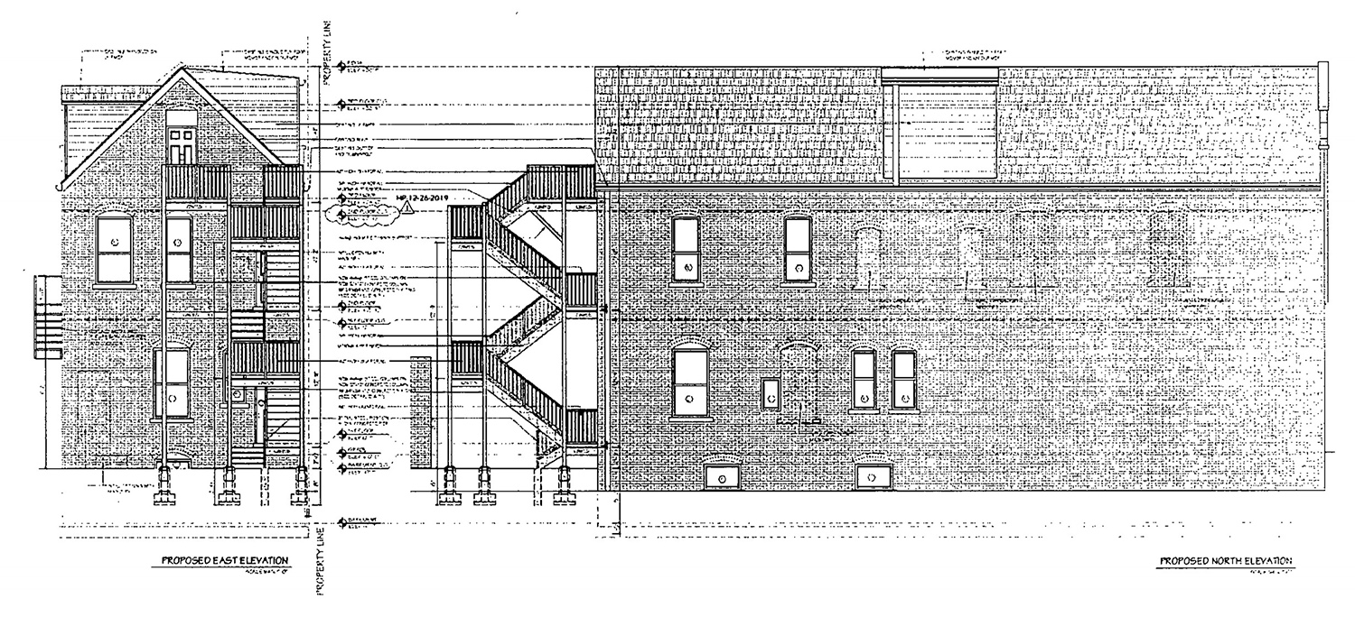 East and North Elevations for 3317 S Morgan Street. Drawings by KennedyMann