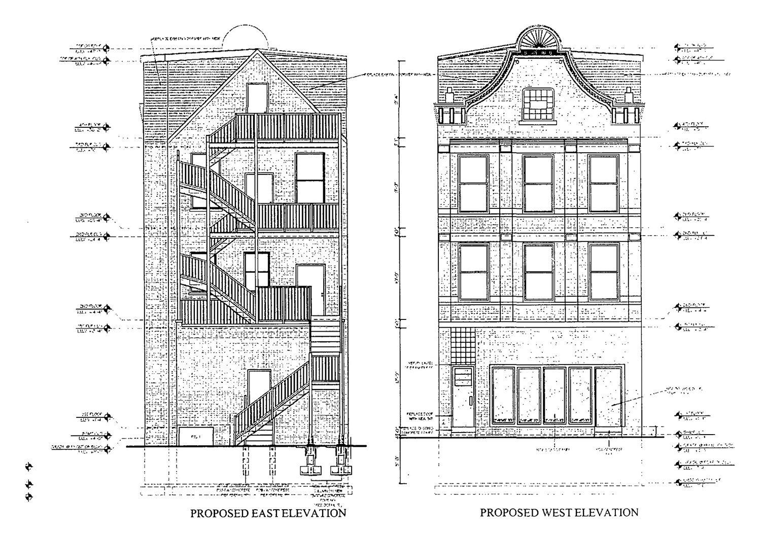 East and West Elevations for 3315 S Morgan Street. Drawings by KennedyMann