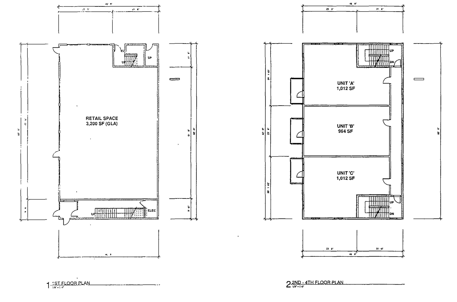 Floor Plans for Mixed-Use Building at 1601 N Western Avenue. Drawing by Design Studio 24