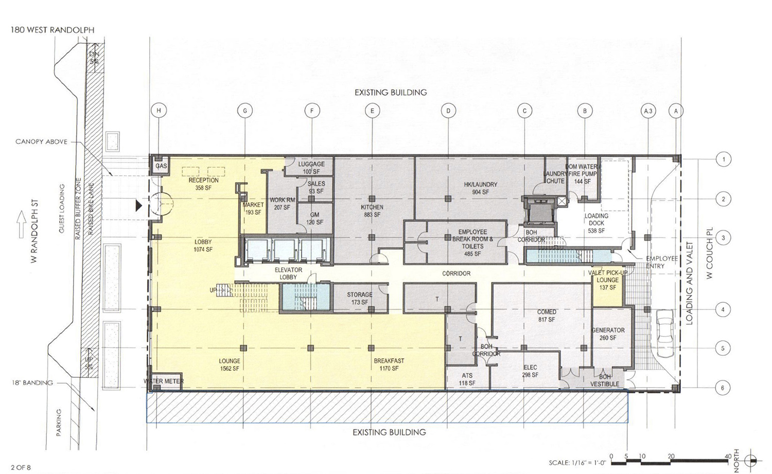 Ground Floor Plan for 180 W Randolph Street. Drawing by DLR Group
