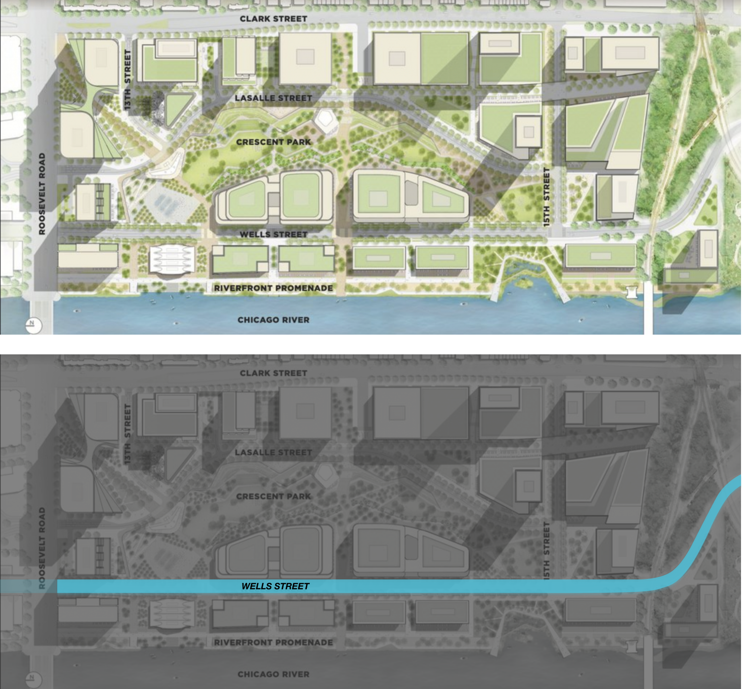 Masterplan of The 78, with bottom image highlighting Wells-Wentworth Connector in blue