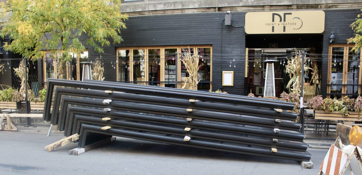 Metal and glass panels for 111 W Hubbard Street (just out of frame to the left)