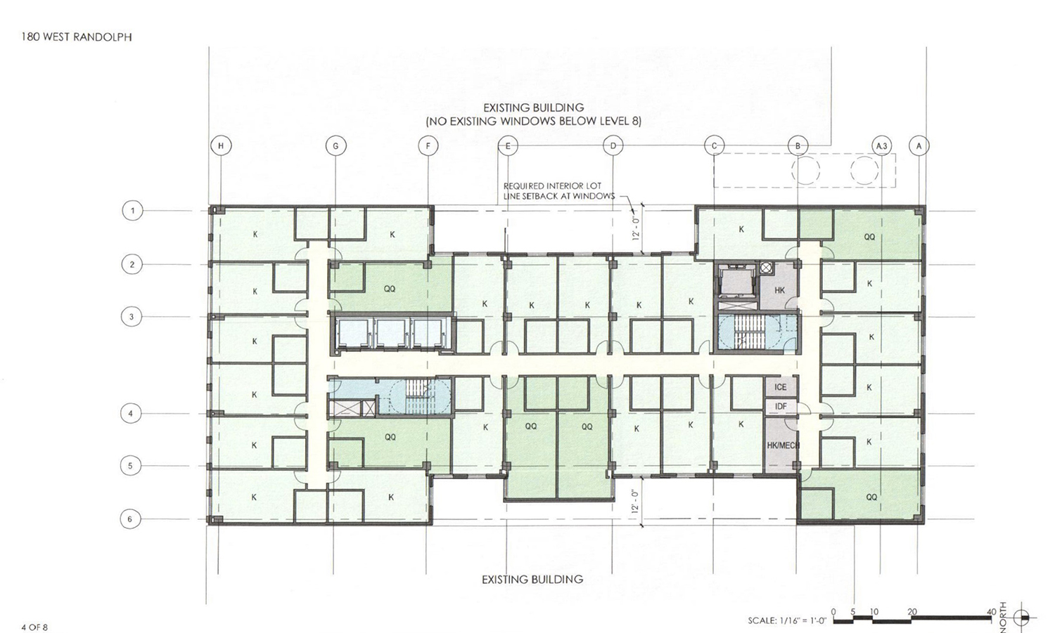 Levels 3-7 Floor Plan for 180 W Randolph Street. Drawing by DLR Group