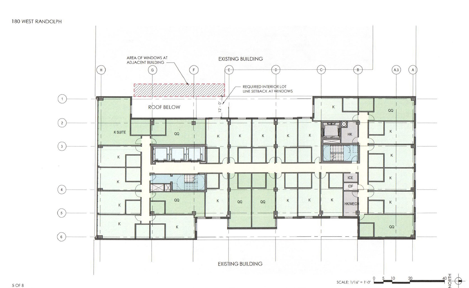 Levels 8-13 Floor Plan for 180 W Randolph Street. Drawing by DLR Group
