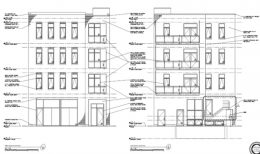 North and South Elevations of 1839 W Irving Park Road. Drawing by Johnathan Splitt Architects