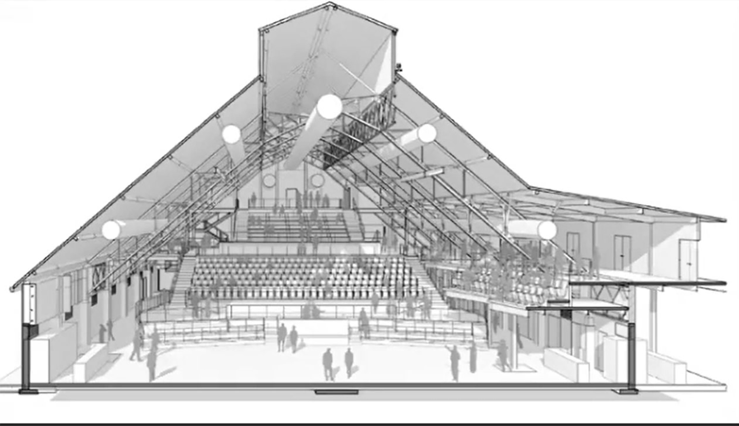 Northern-Facing Shed Building Section. Drawing by Lamar Johnson Collaborative