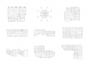 Tribune Tower conversion floor plans (not to scale)