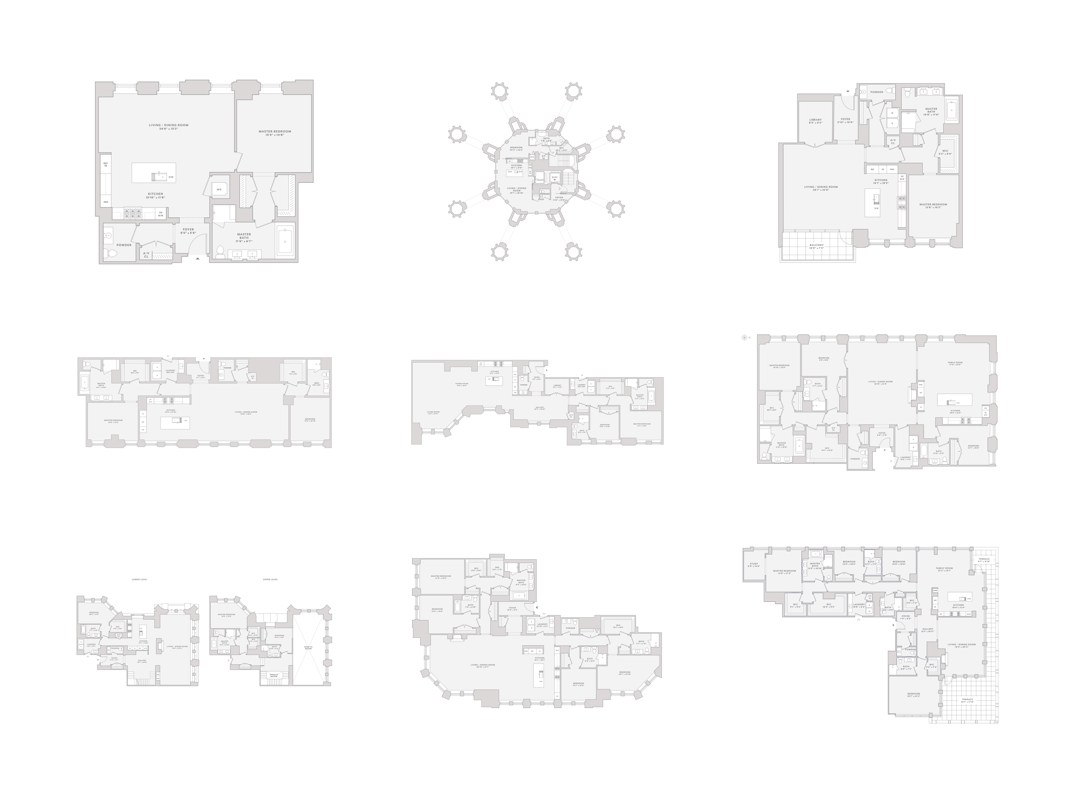 Various floor plans, ordered by size (not to scale)