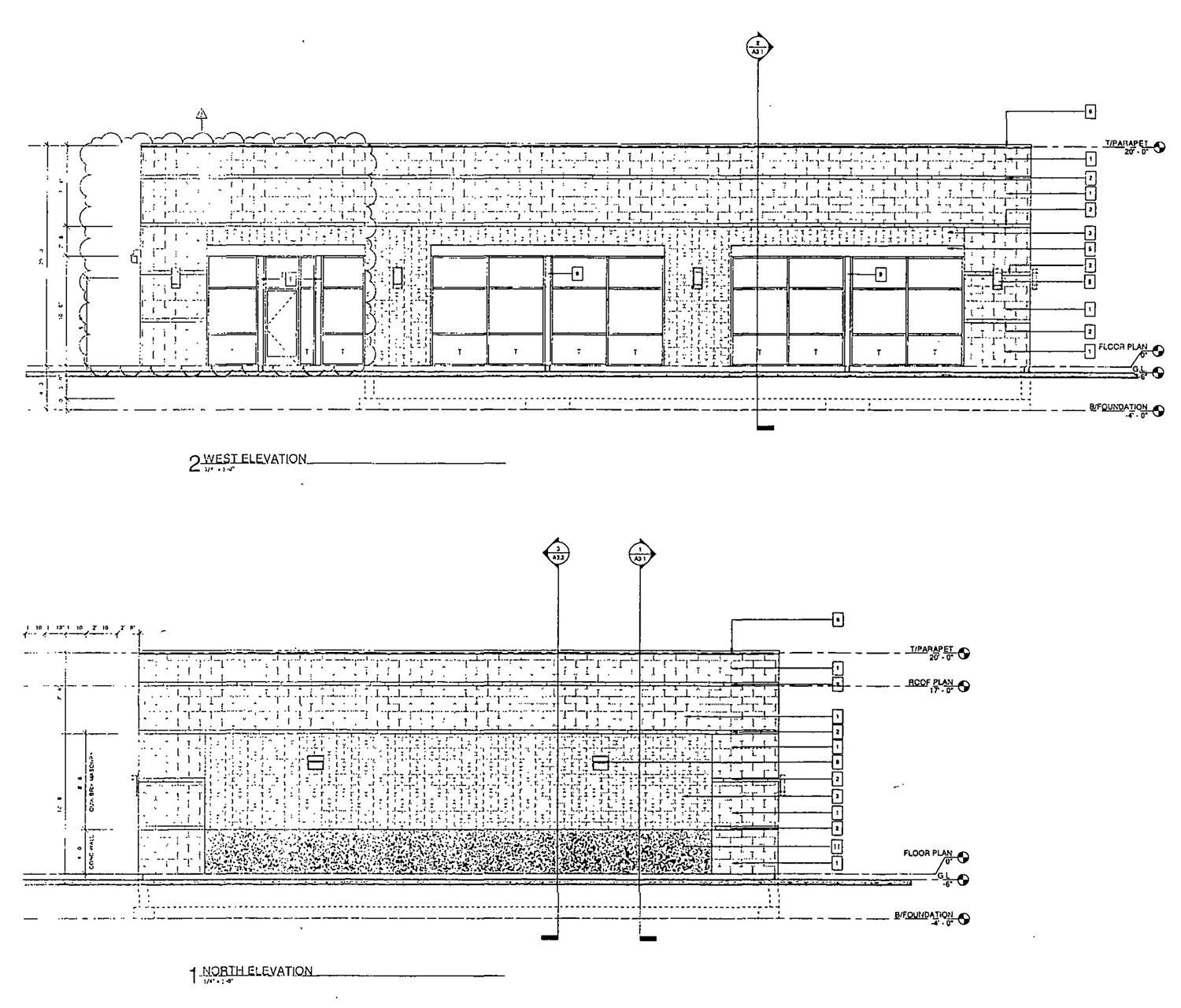 Retail Building Elevations at 1601 N Western Avenue. Drawing by Design Studio 24