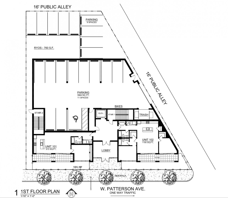 Ground floor plan of 1118 W Patterson Avenue