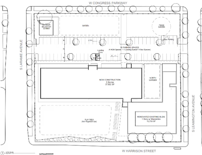 Site Plan for 5100 W Harrison Street. Drawing by Landon Bone Baker Architects