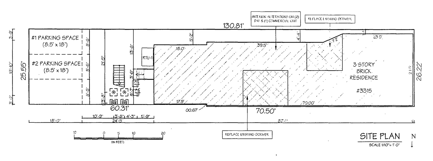 Site Plan of 3315 S Morgan Street. Drawing by KennedyMann