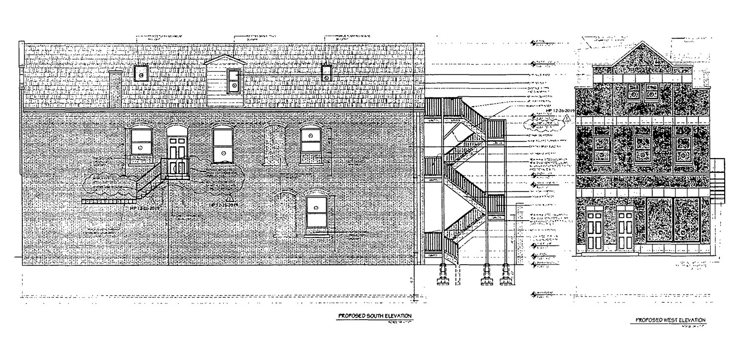 South and West Elevations for 3317 S Morgan Street. Drawings by KennedyMann