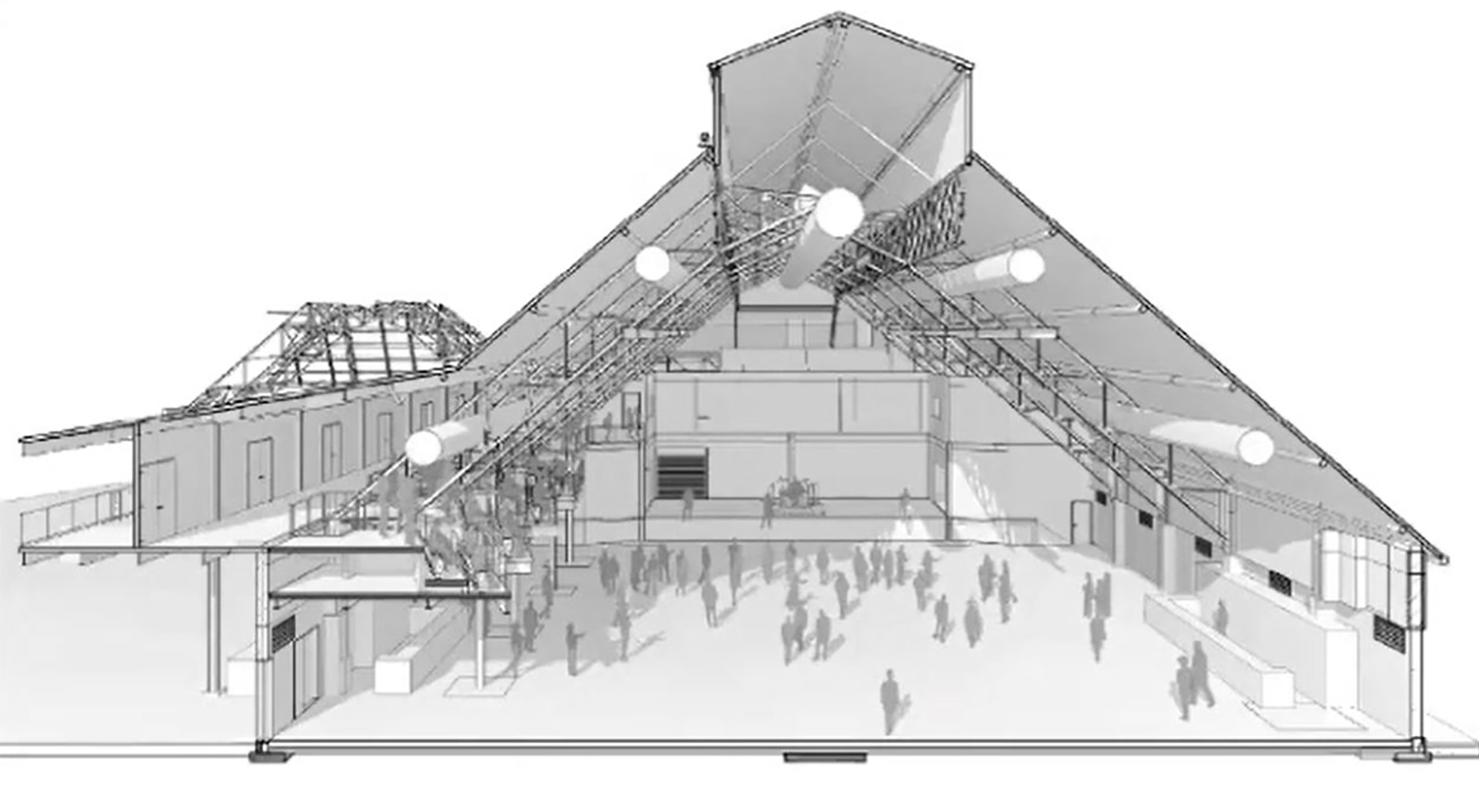 Southern-Facing Shed Building Section. Drawing by Lamar Johnson Collaborative